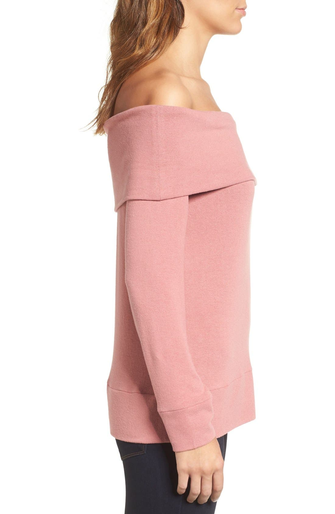 'Brooklyn' Off the Shoulder Top,                             Alternate thumbnail 4, color,                             Cashew Pink