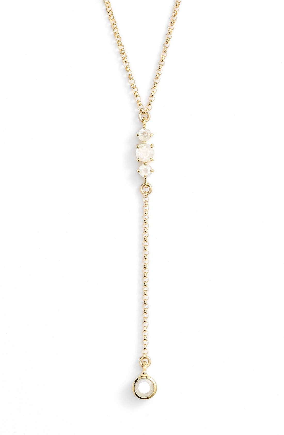 Leah Alexandra Moonstone & Gold Y-Necklace