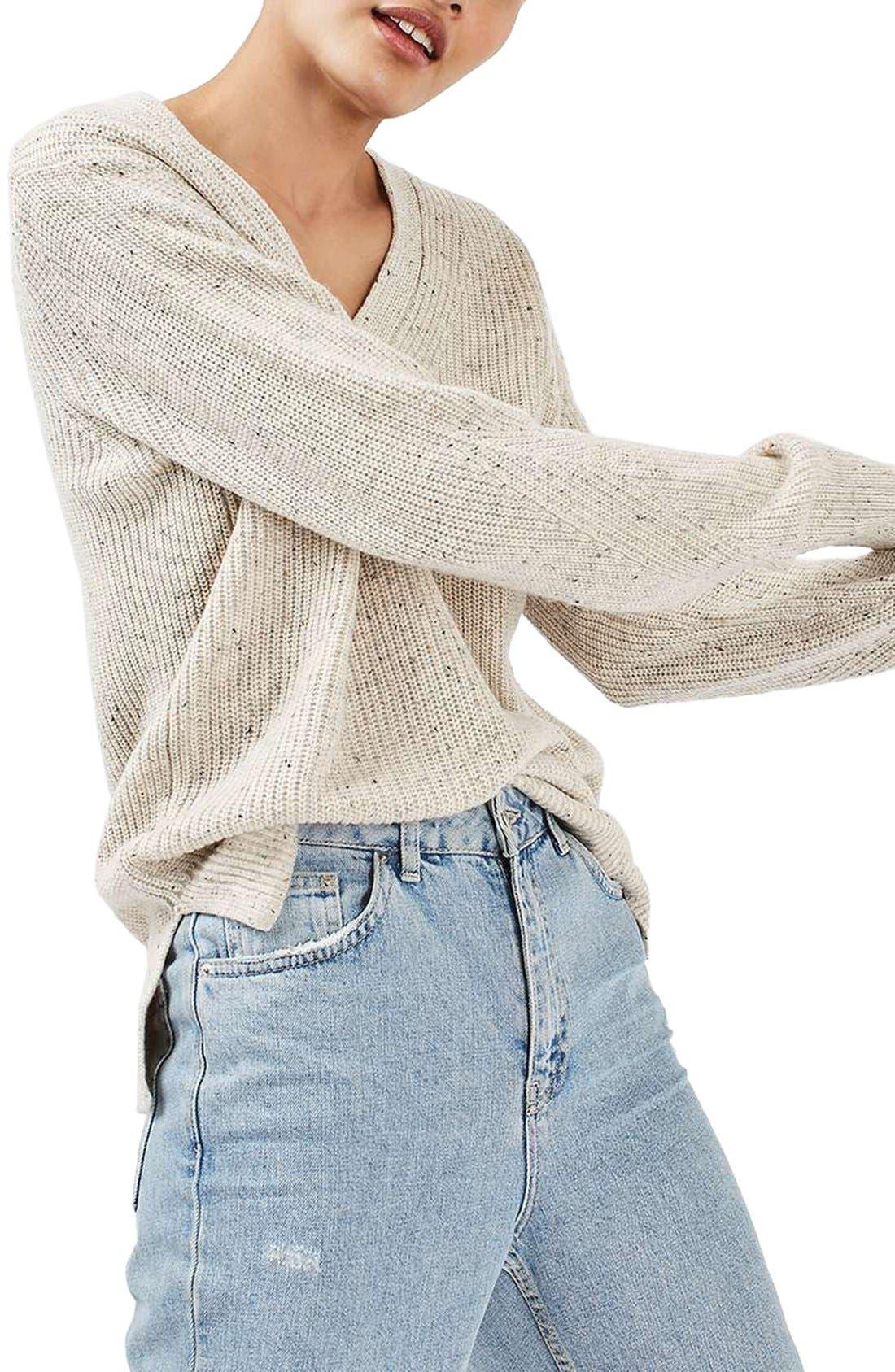 Ribbed V-Neck Sweater,                         Main,                         color, Cream