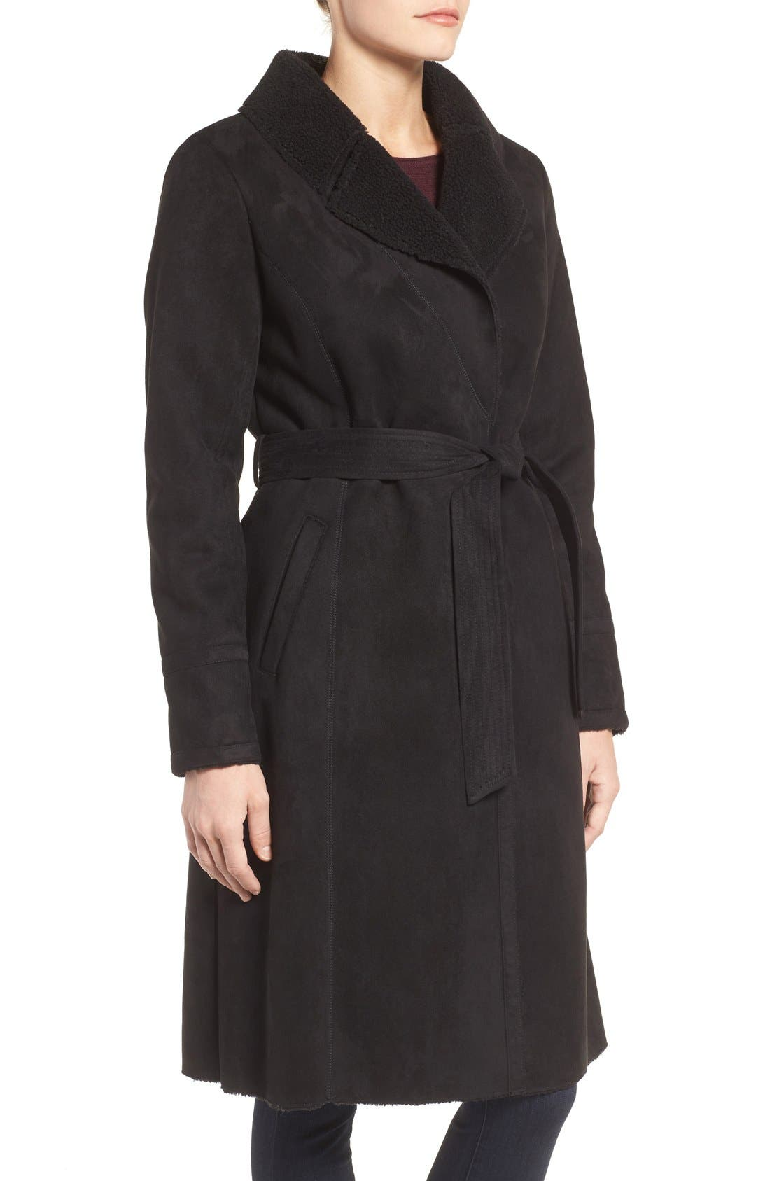 Faux Shearling Wrap Trench Coat,                             Alternate thumbnail 3, color,                             Black