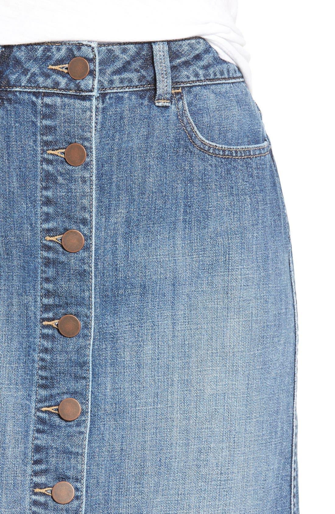 Button Front Denim Midi Skirt,                             Alternate thumbnail 4, color,                             Bluejay Medium Vintage