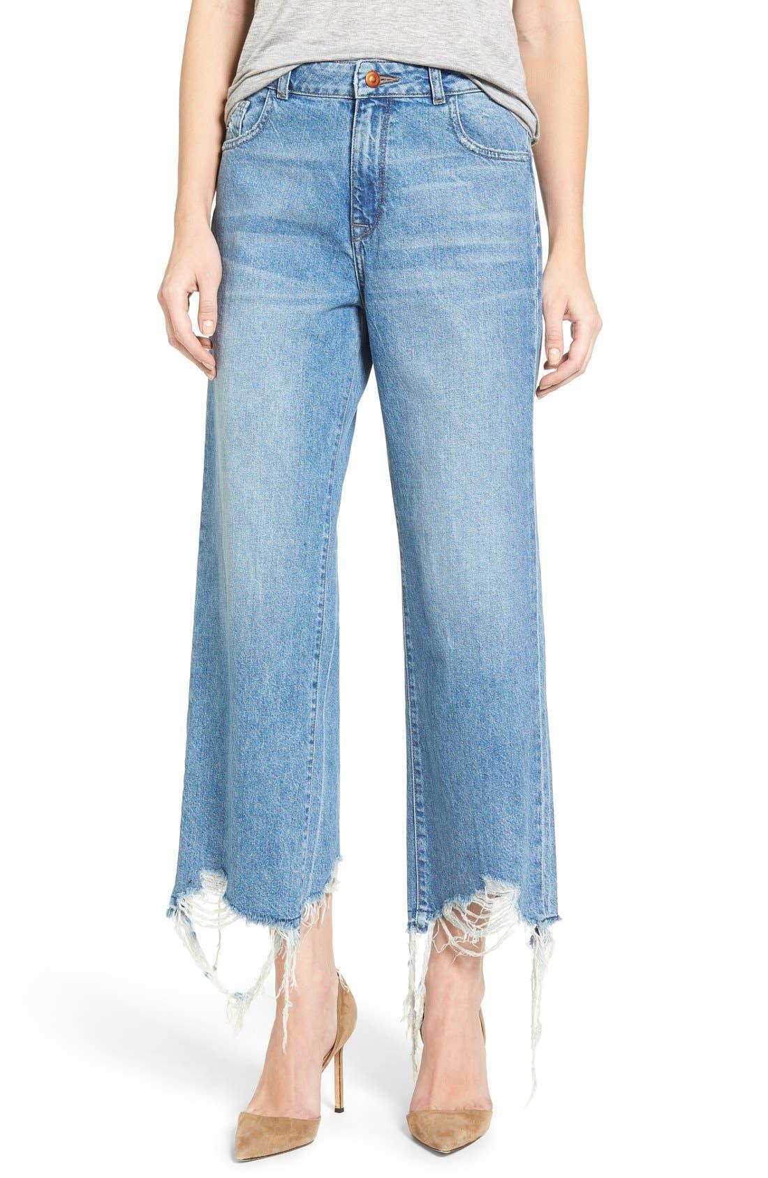 Hepburn High Rise Wide Leg Jeans,                             Main thumbnail 1, color,                             Slate