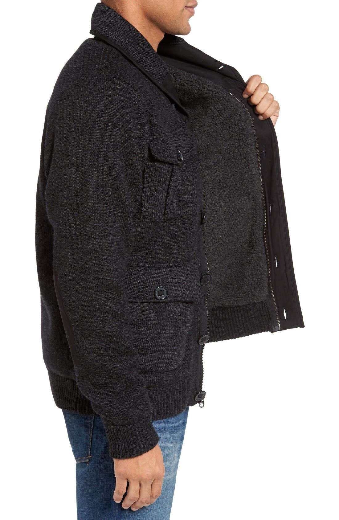 Military Sherpa-Lined Sweater Jacket,                             Alternate thumbnail 3, color,                             Black
