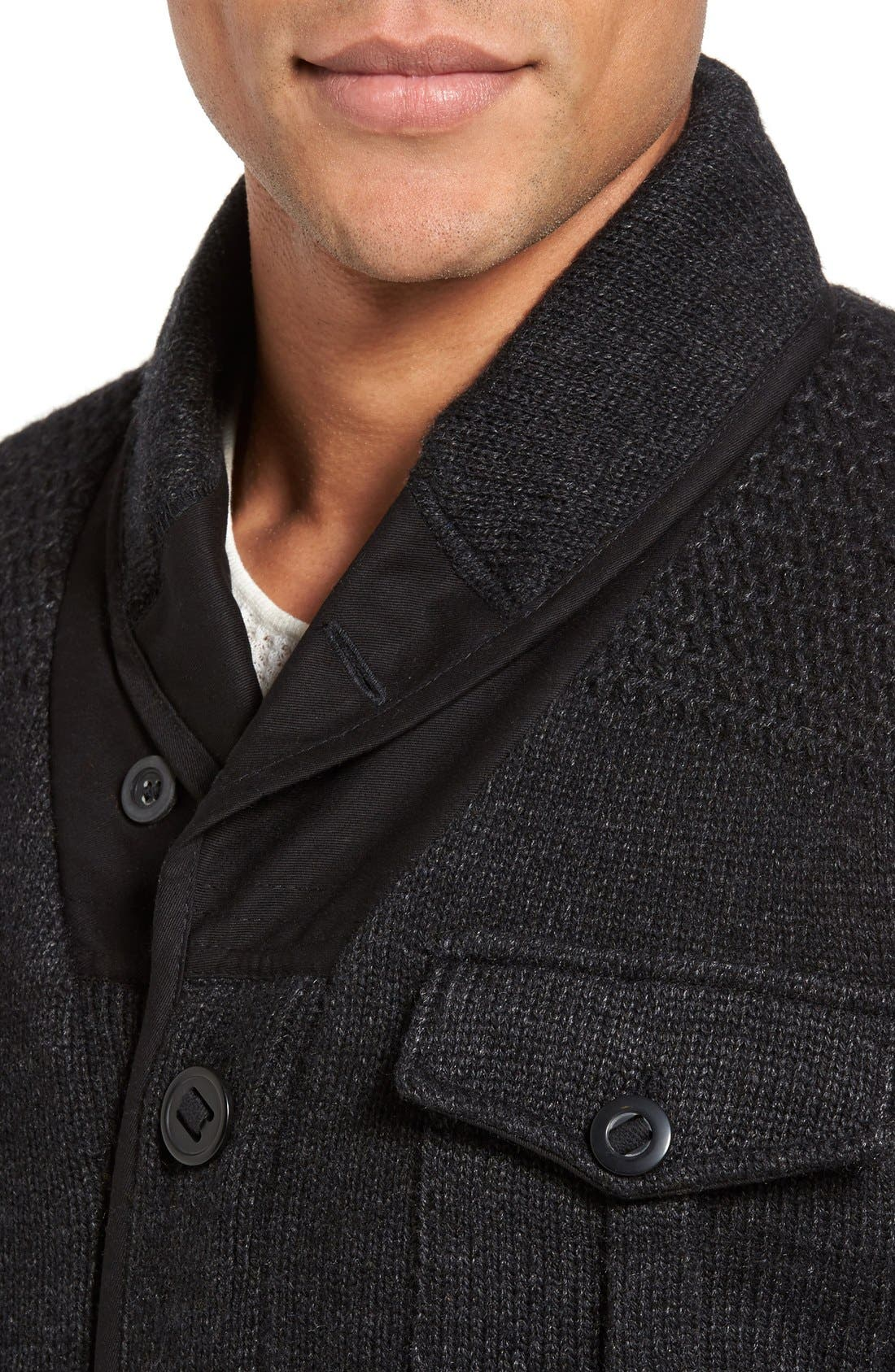 Military Sherpa-Lined Sweater Jacket,                             Alternate thumbnail 4, color,                             Black