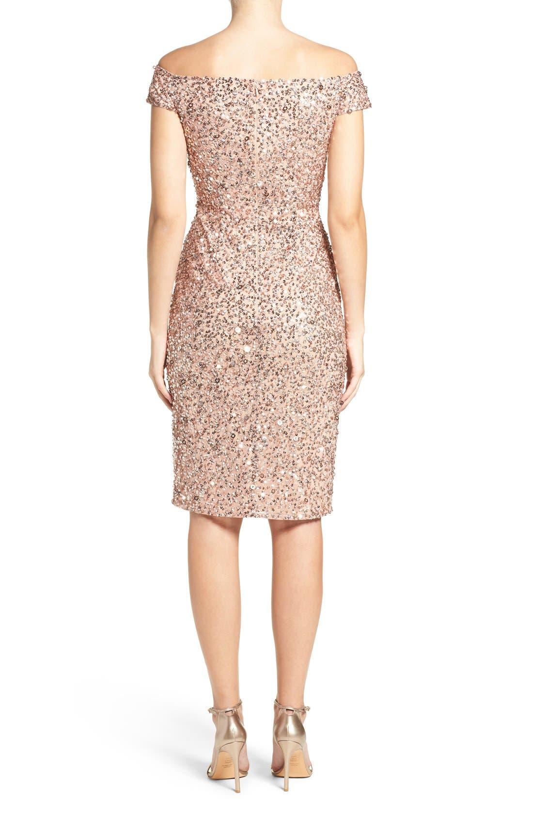 Alternate Image 3  - Adrianna Papell Off the Shoulder Sequin Sheath Dress (Regular & Petite)