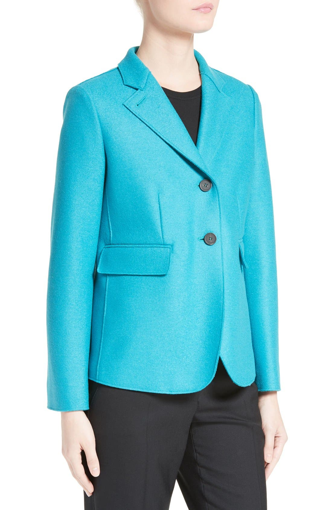 Double Face Wool Jacket,                             Alternate thumbnail 6, color,                             Azure