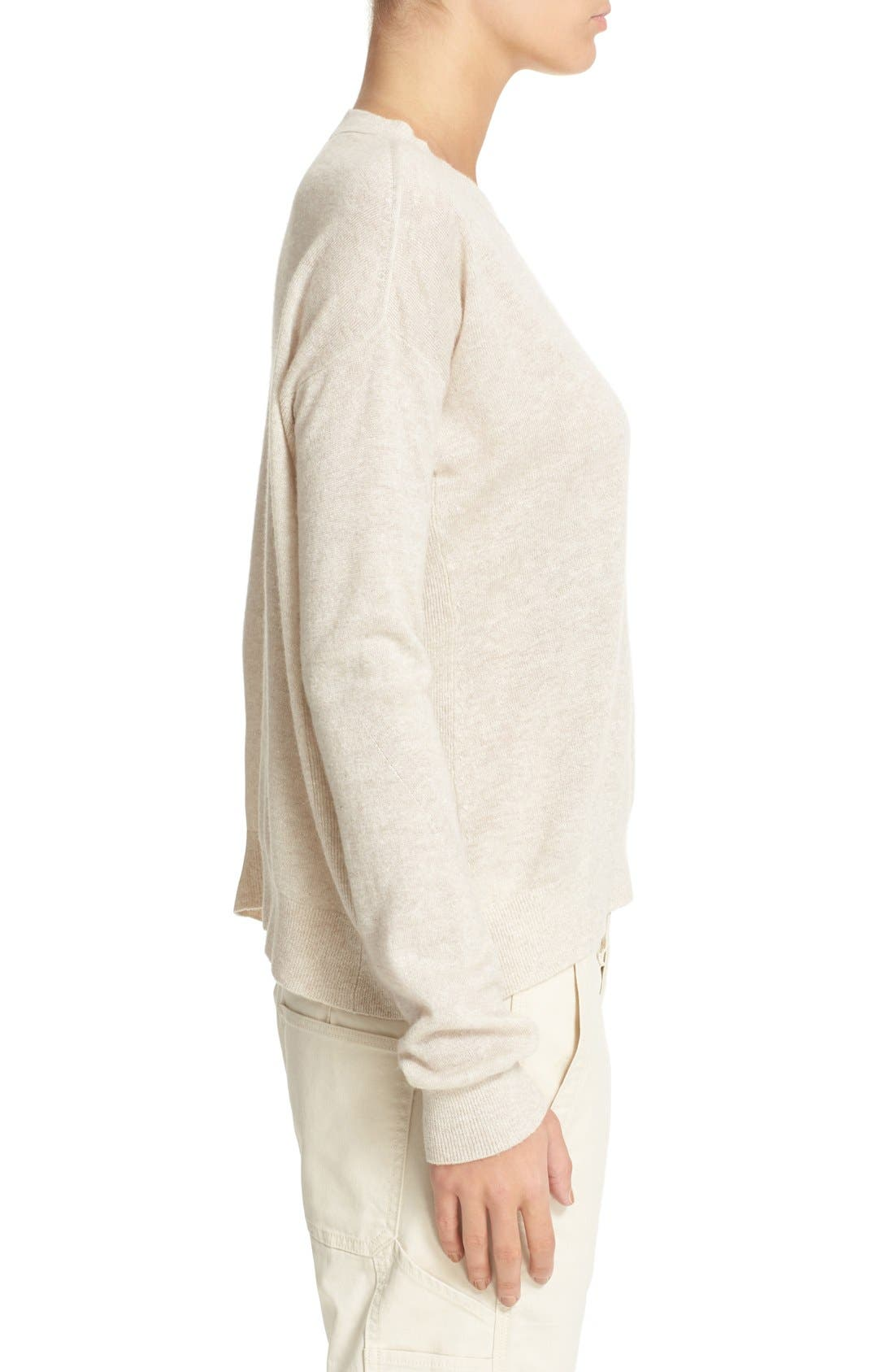 Linen & Cashmere Pullover,                             Alternate thumbnail 3, color,                             Heather Tan