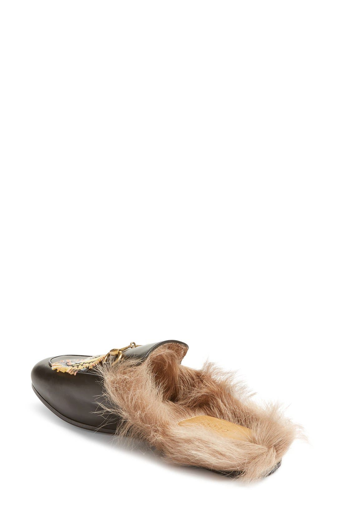 Princetown Genuine Fur Loafer Mule,                             Alternate thumbnail 2, color,                             Black Print Leather