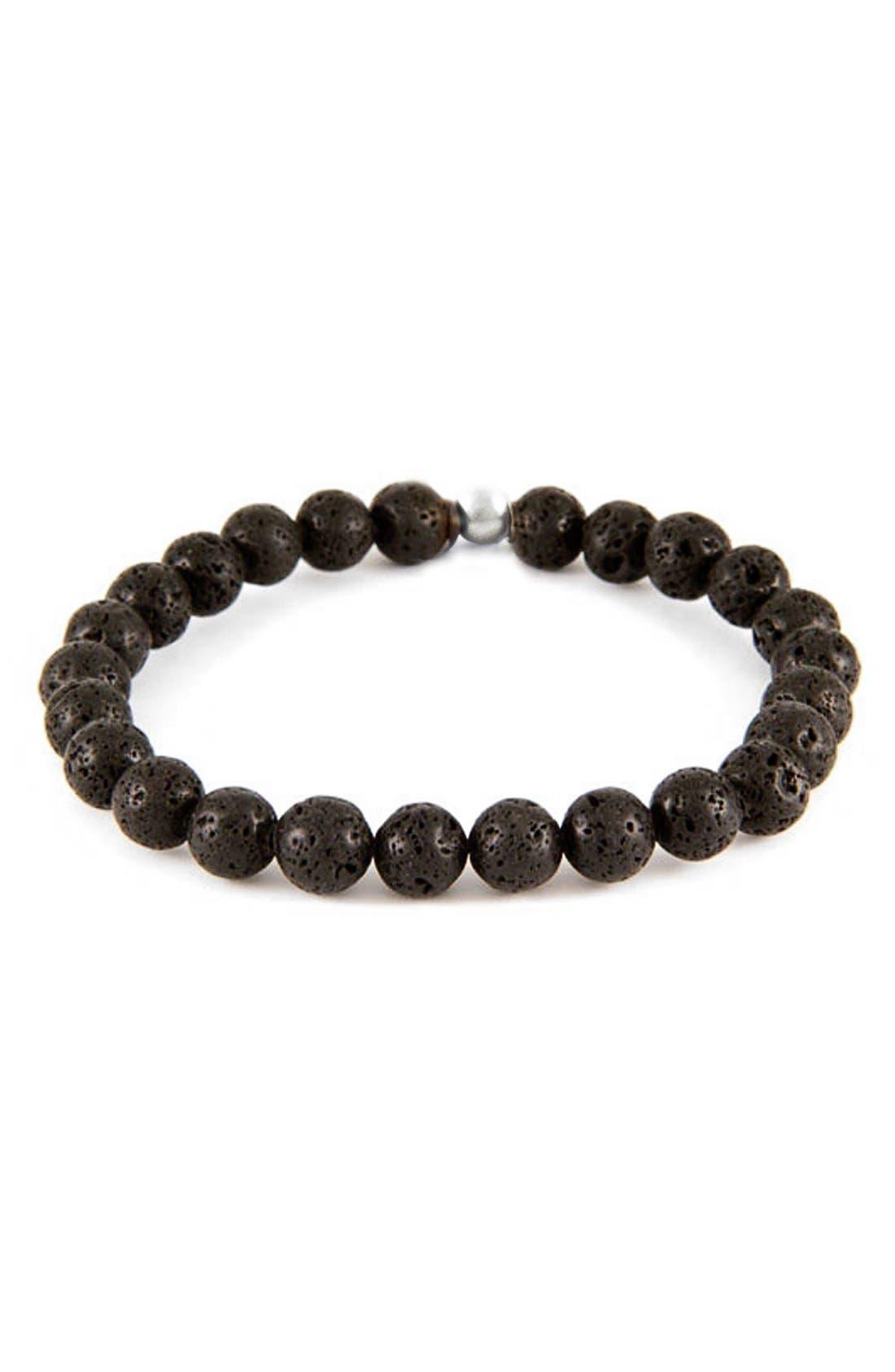Lava Stone Bead Bracelet,                         Main,                         color, Black