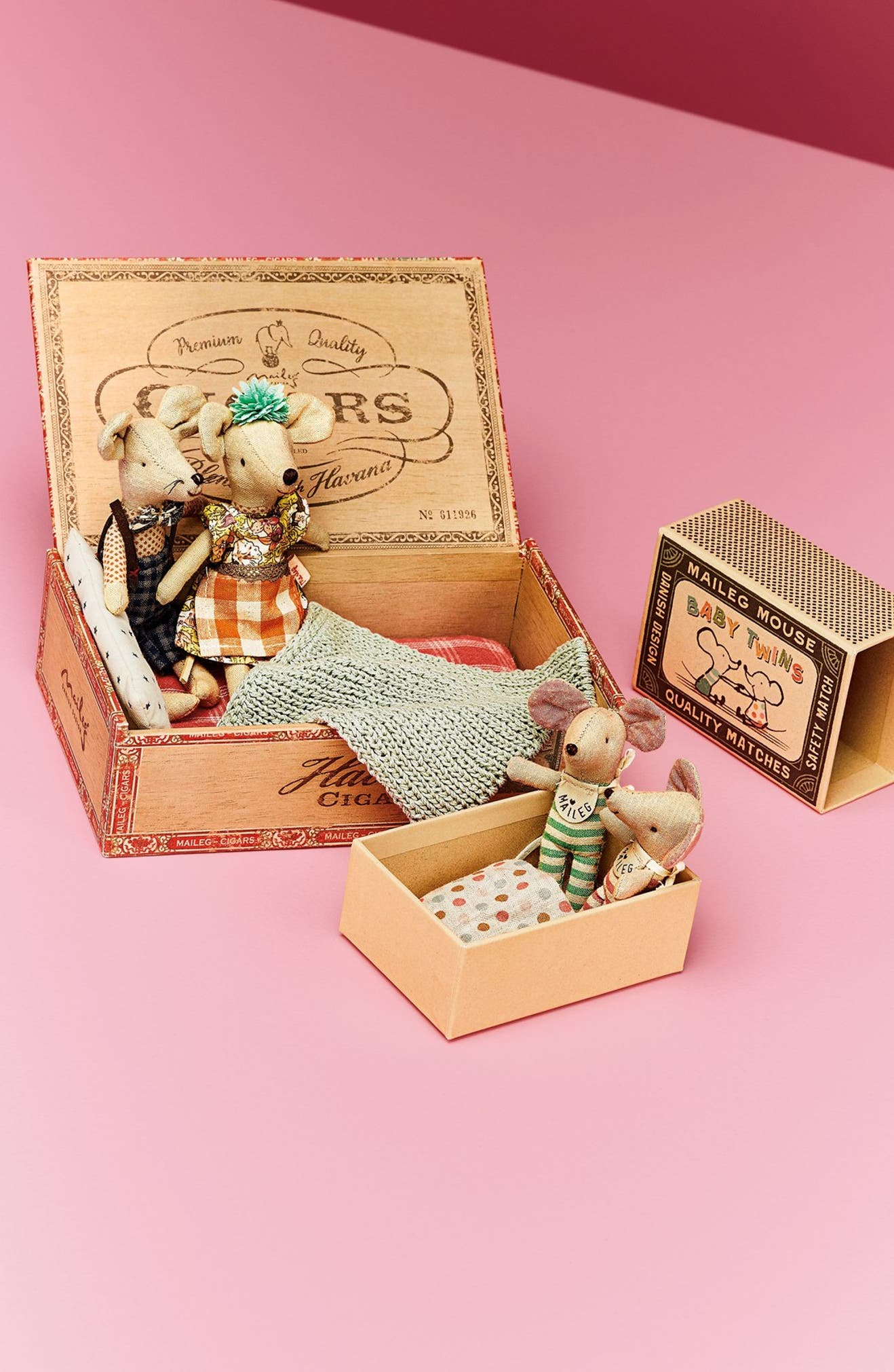 Maileg Baby Twins Stuffed Toy Mice in a Box | Nordstrom