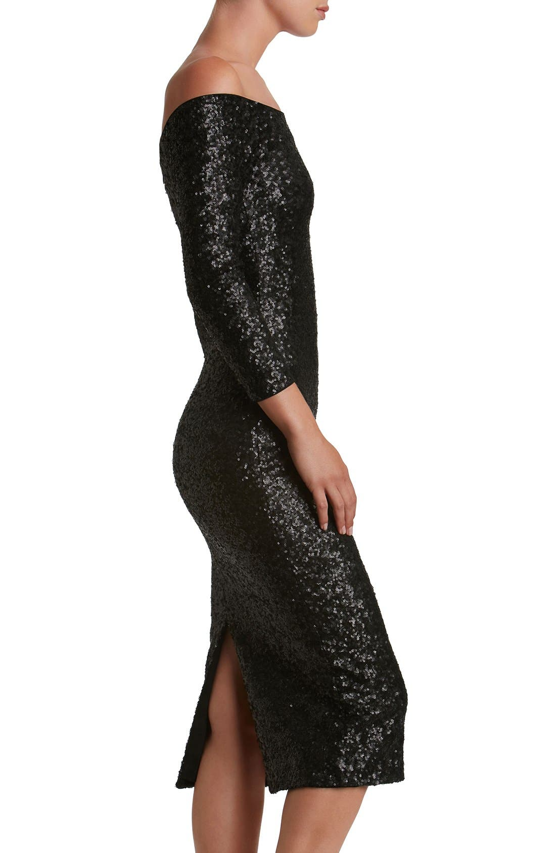 Alternate Image 4  - Dress the Population Addison Sequin Midi Dress