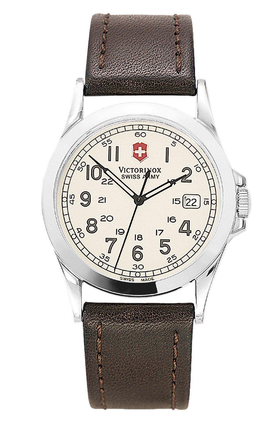 Alternate Image 1 Selected - Victorinox Swiss Army® 'Infantry' 38mm Watch with Leather Band