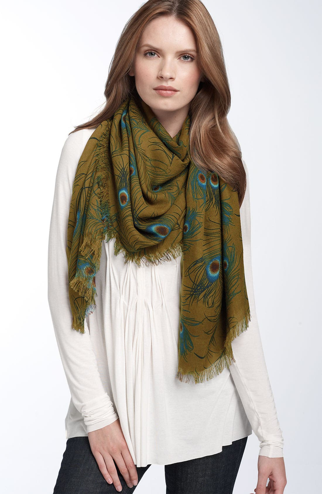 Alternate Image 1 Selected - Nordstrom Peacock Print Scarf