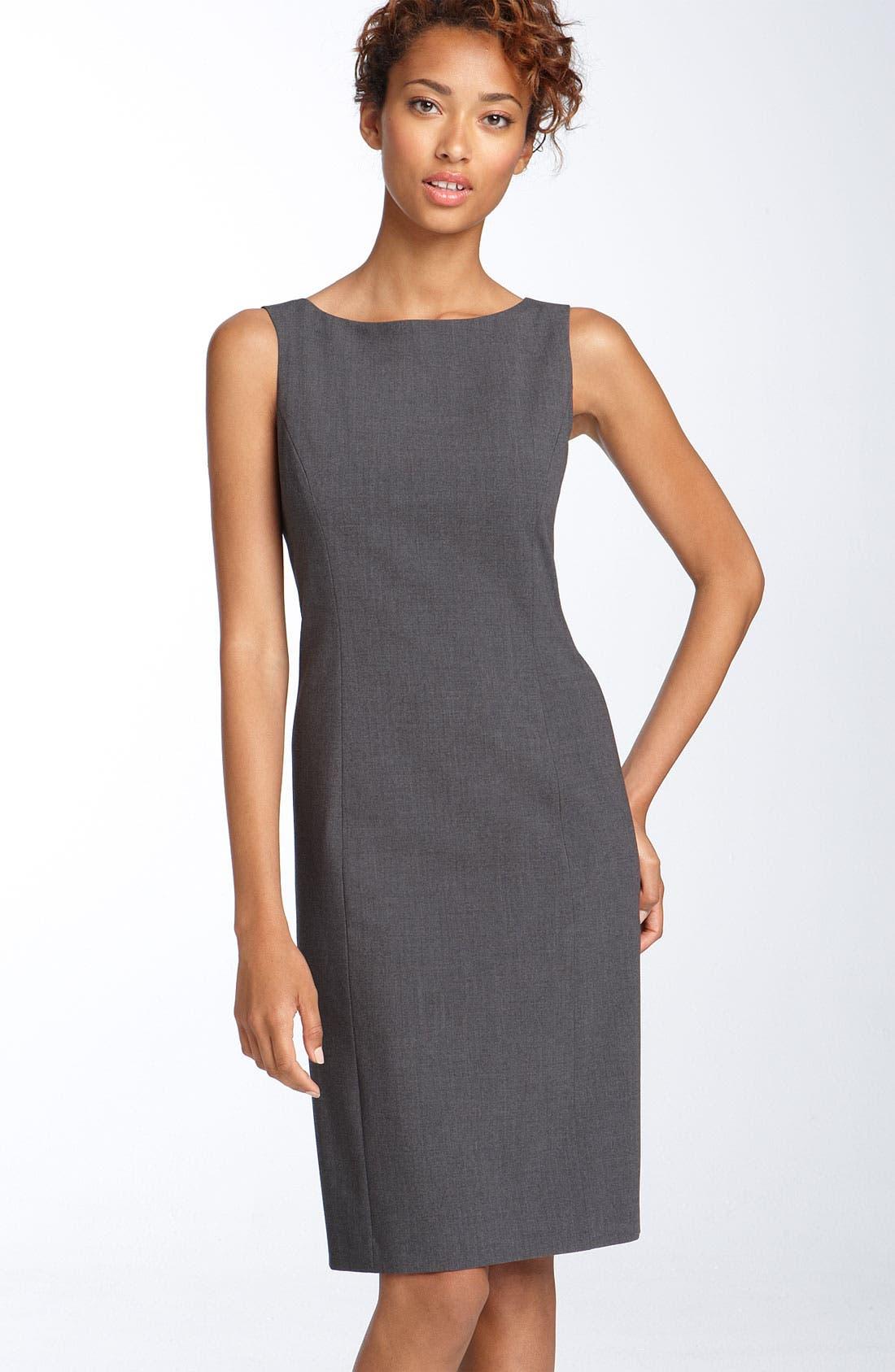 by Arthur S. Levine Crepe Sheath Dress,                         Main,                         color,  Charcoal