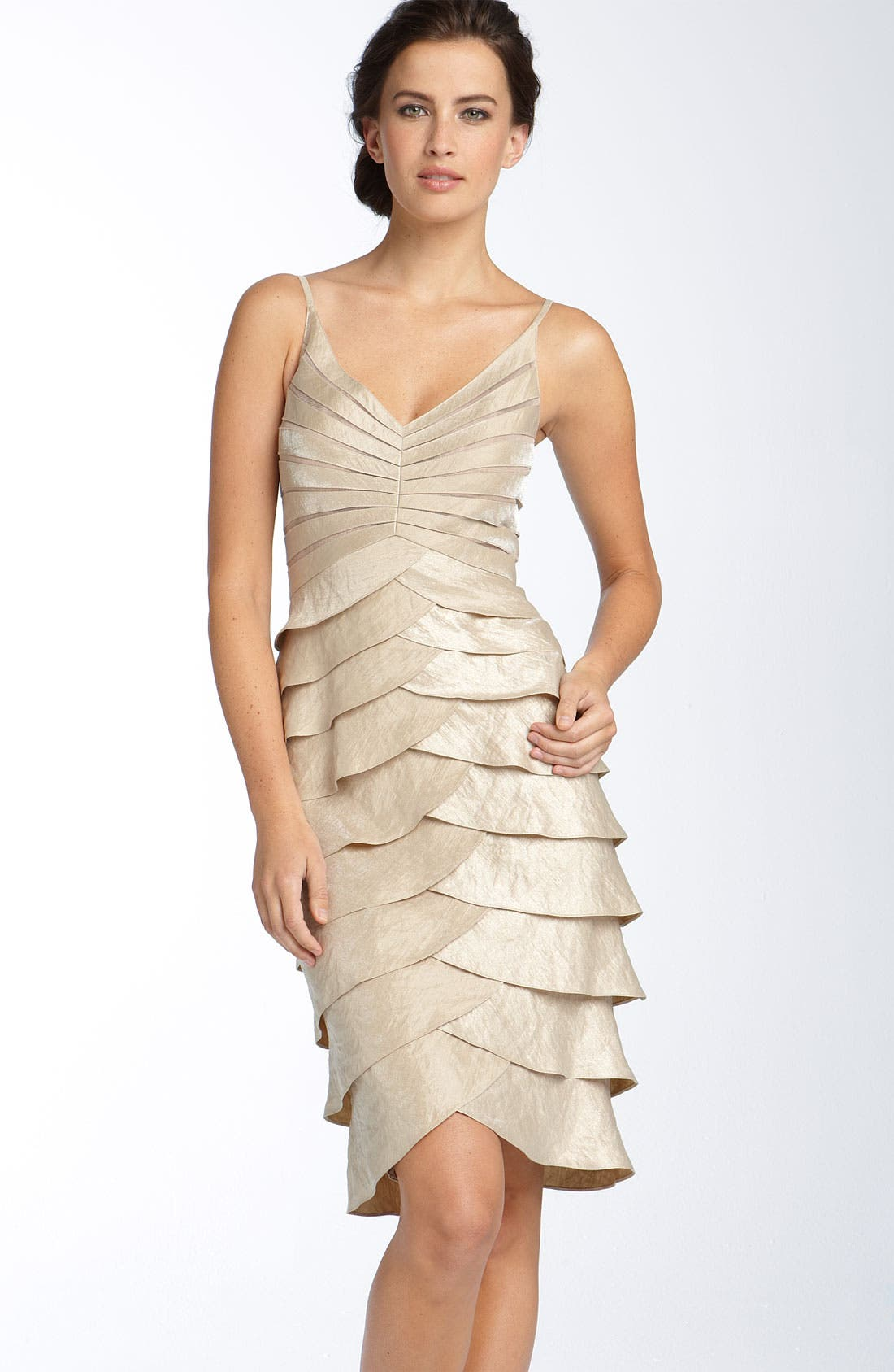 Alternate Image 2  - Adrianna Papell Tiered Hammered Satin Sheath Dress & Bolero (Regular & Petite)