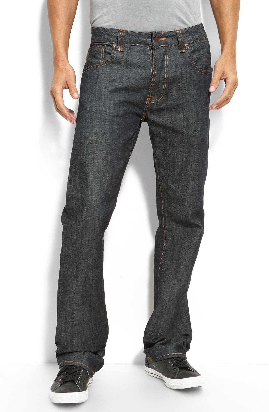 Alternate Image 2  - Nudie 'Easy Emil' Relaxed Straight Leg Raw Jeans (Dry Organic Blue Wash)