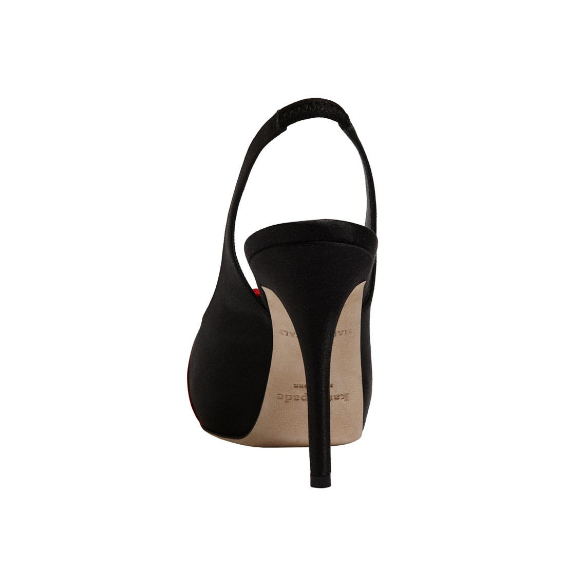 'guest' slingback pump,                             Alternate thumbnail 4, color,                             Black Satin/ Red Satin