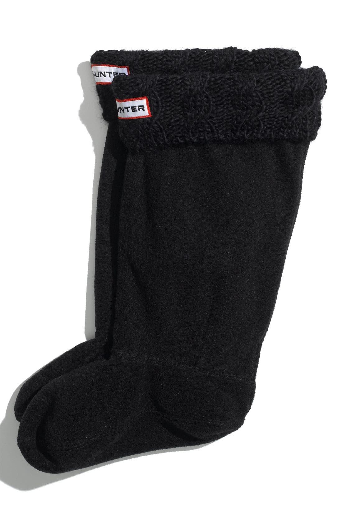 Main Image - Hunter Cabled Cuff Welly Socks (Toddler Girls, Little Girls & Big Girls)
