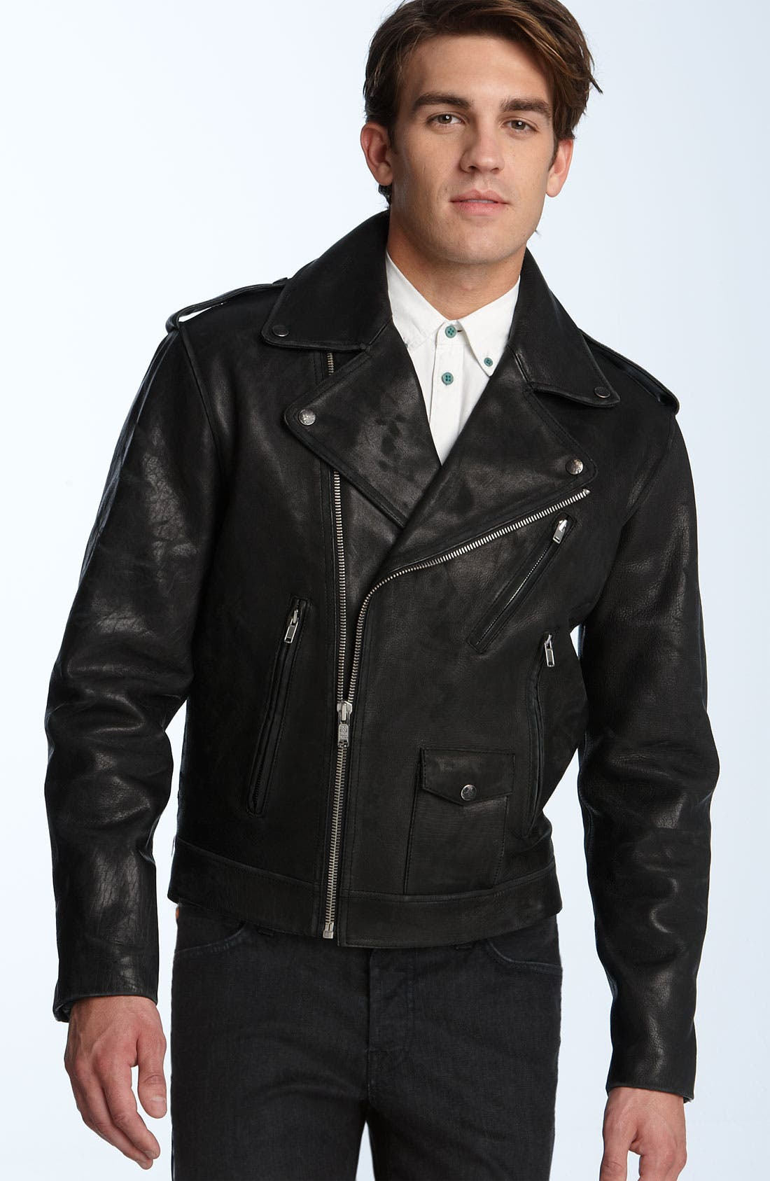 Leather Motorcycle Jacket,                             Main thumbnail 1, color,                              Black