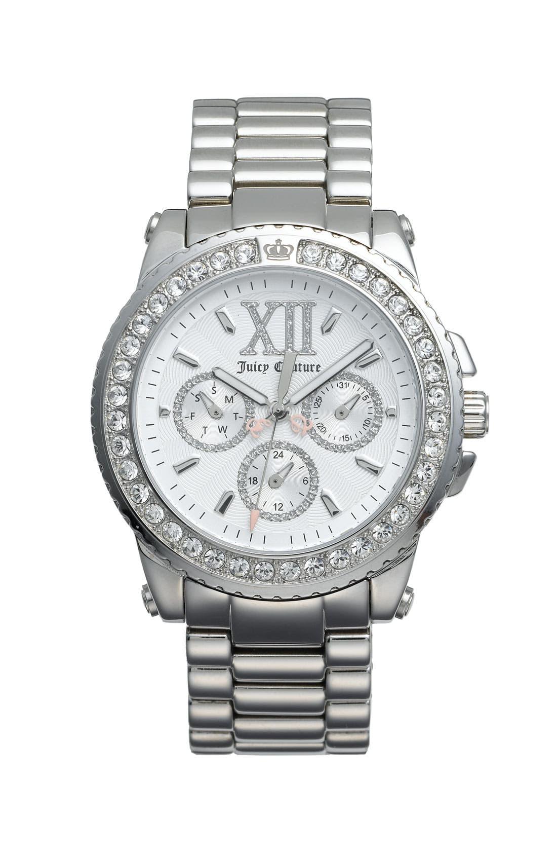 Alternate Image 1 Selected - Juicy Couture 'Pedigree' Stainless Steel Bracelet Watch, 39mm