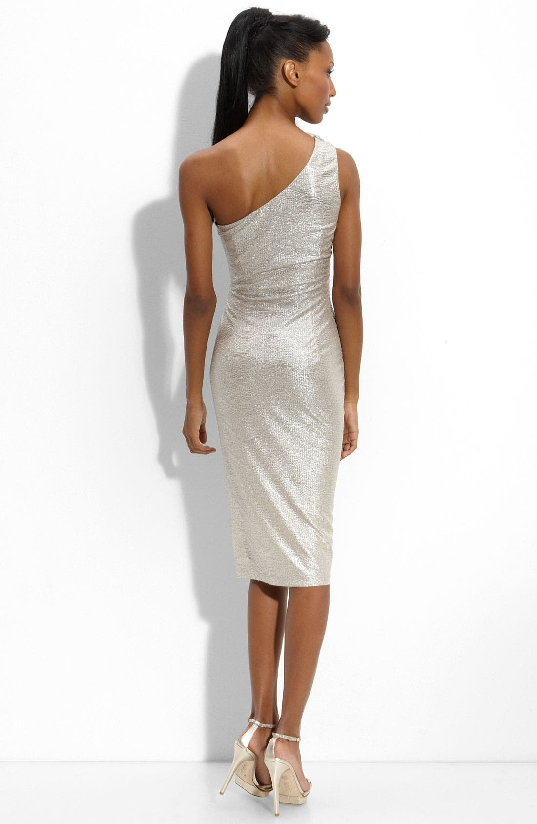 Alternate Image 2  - David Meister One Shoulder Matelassé Sheath Dress