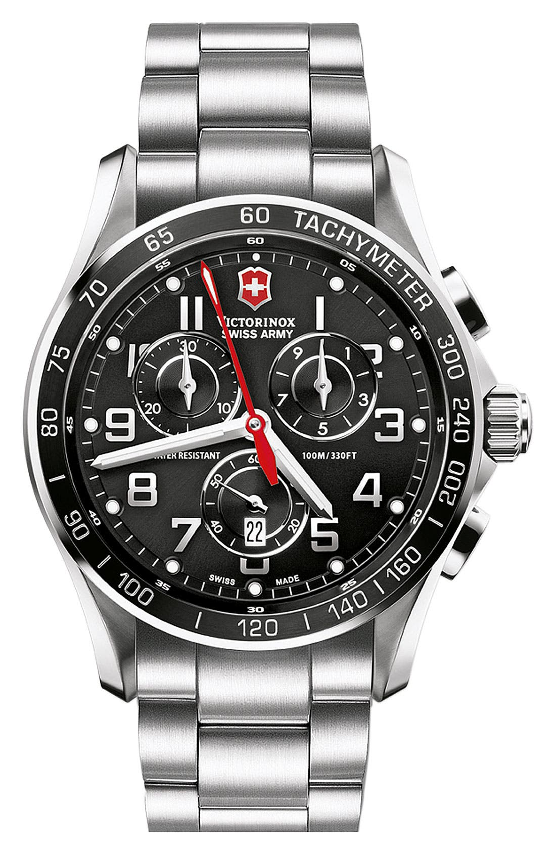 Alternate Image 1 Selected - Victorinox Swiss Army® 'Chrono Classic XLS' Stainless Steel Bracelet Watch, 45mm