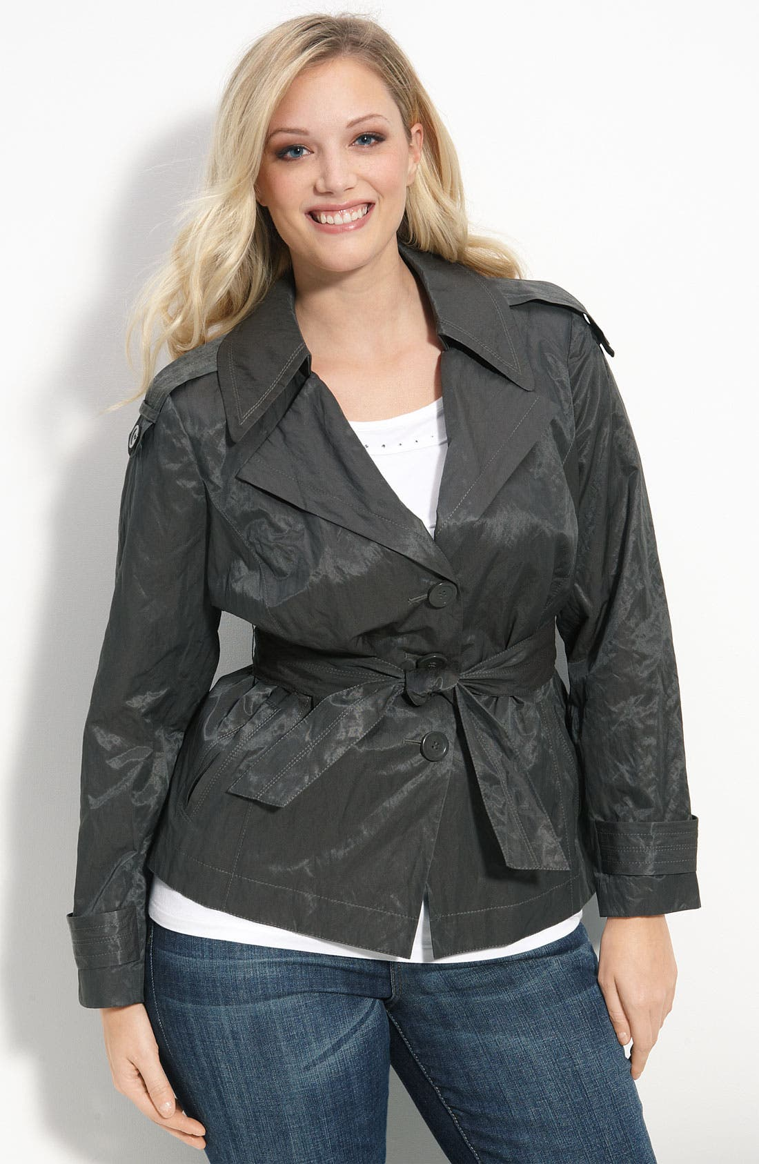 Main Image - Sejour 'Solar Twill' Belted Trench Jacket (Plus)