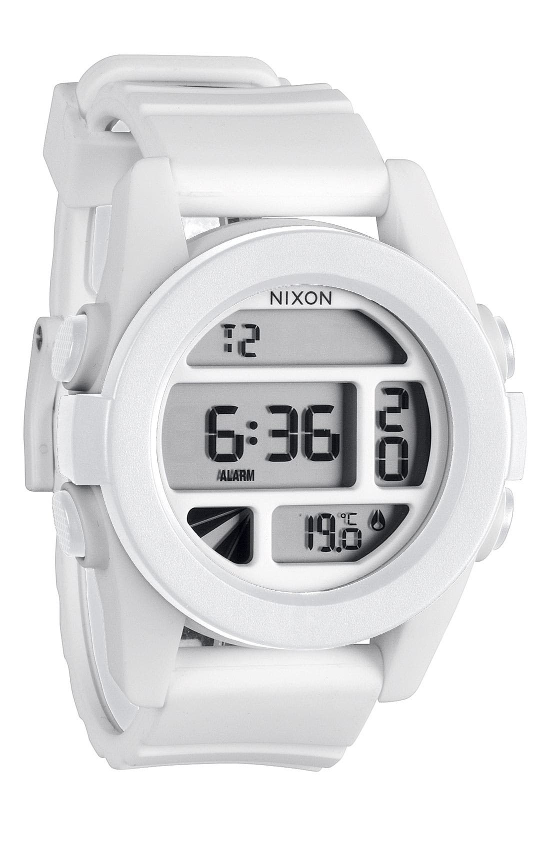 'The Unit' Round Digital Watch, 44mm,                             Main thumbnail 1, color,                             White