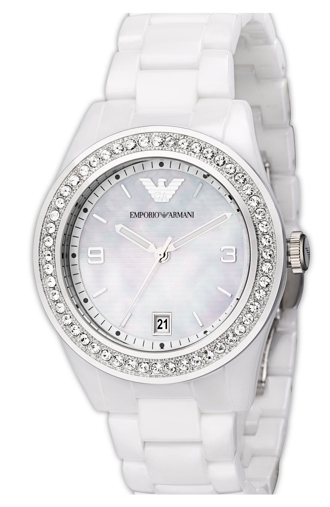 Alternate Image 2  - Emporio Armani Medium Round Crystal & Ceramic Watch, 39mm