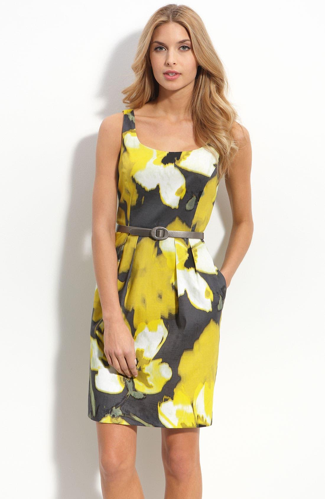Alternate Image 1 Selected - Eliza J Belted Stretch Cotton Dress (Nordstrom Exclusive)