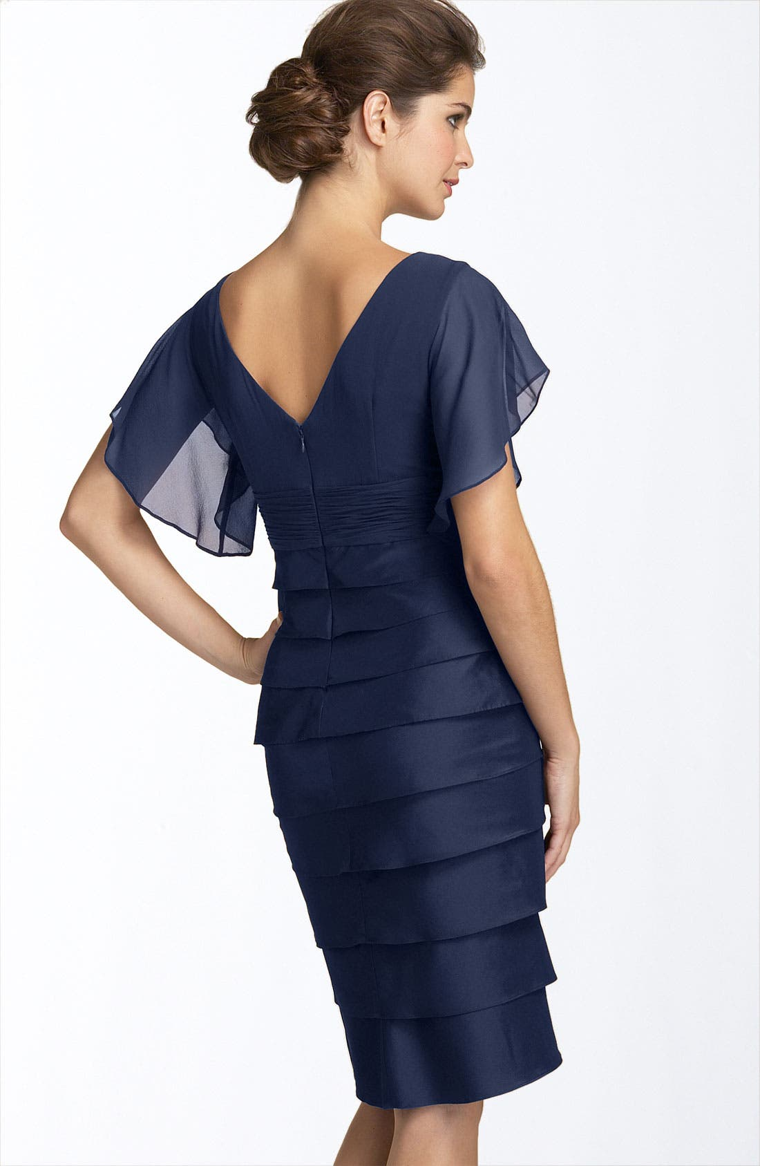 Alternate Image 2  - Adrianna Papell Flutter Sleeve Tiered Dress (Petite)