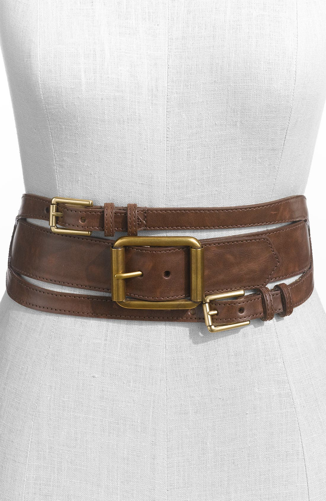 Alternate Image 1 Selected - WCM Multi Buckle Faux Leather Stretch Belt (Nordstrom Exclusive)