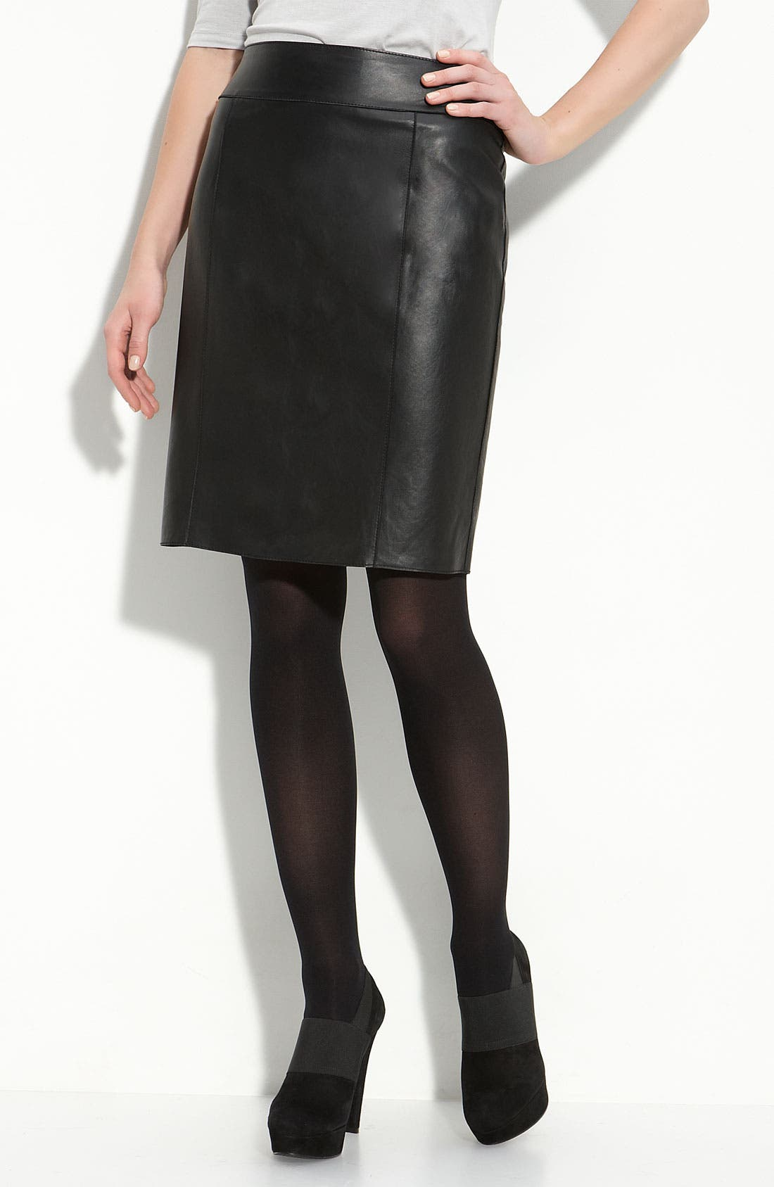 Main Image - Halogen® Leather Pencil Skirt