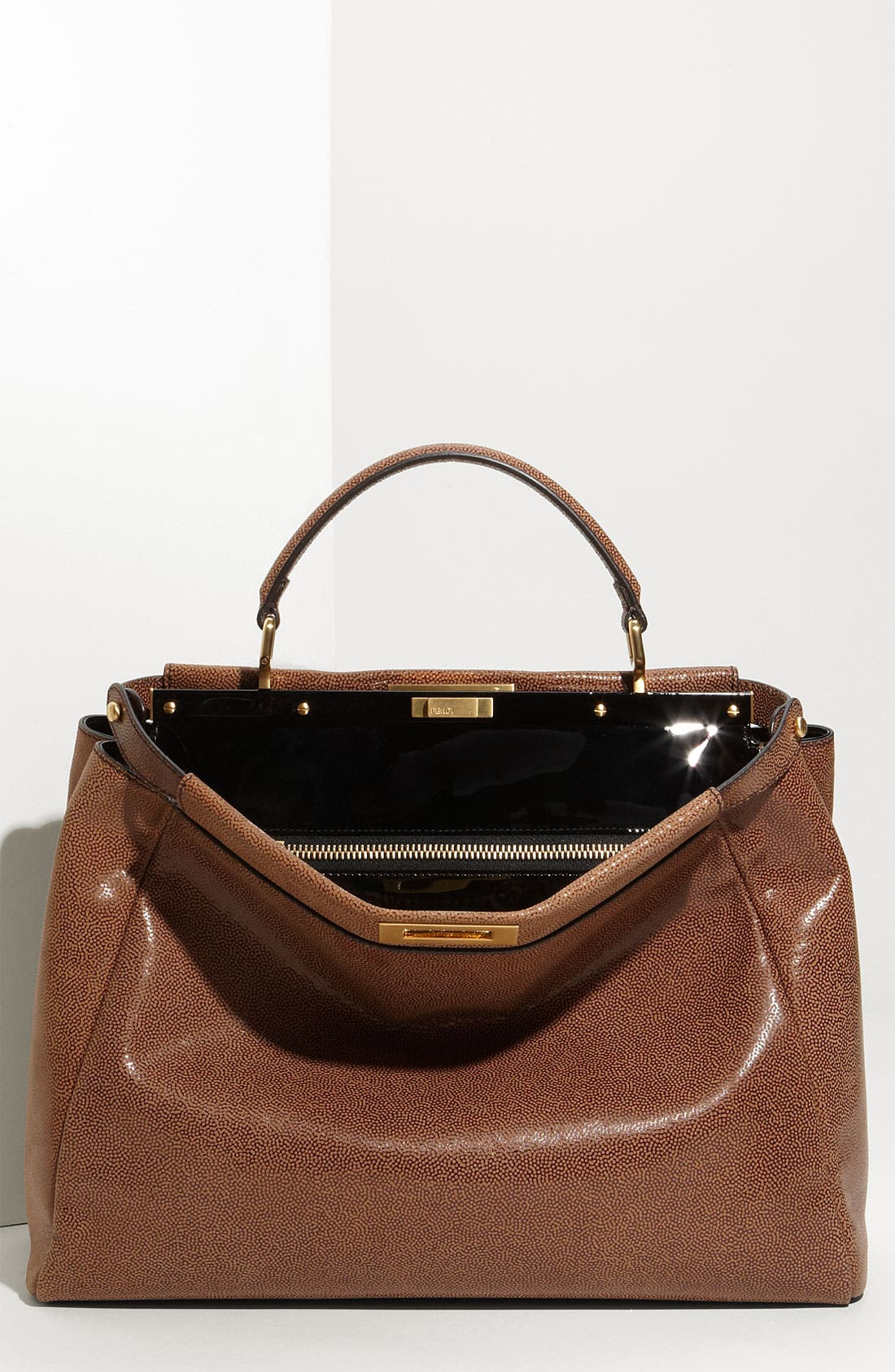 Alternate Image 1 Selected - Fendi 'Peekaboo - Large' Glazed Leather Satchel