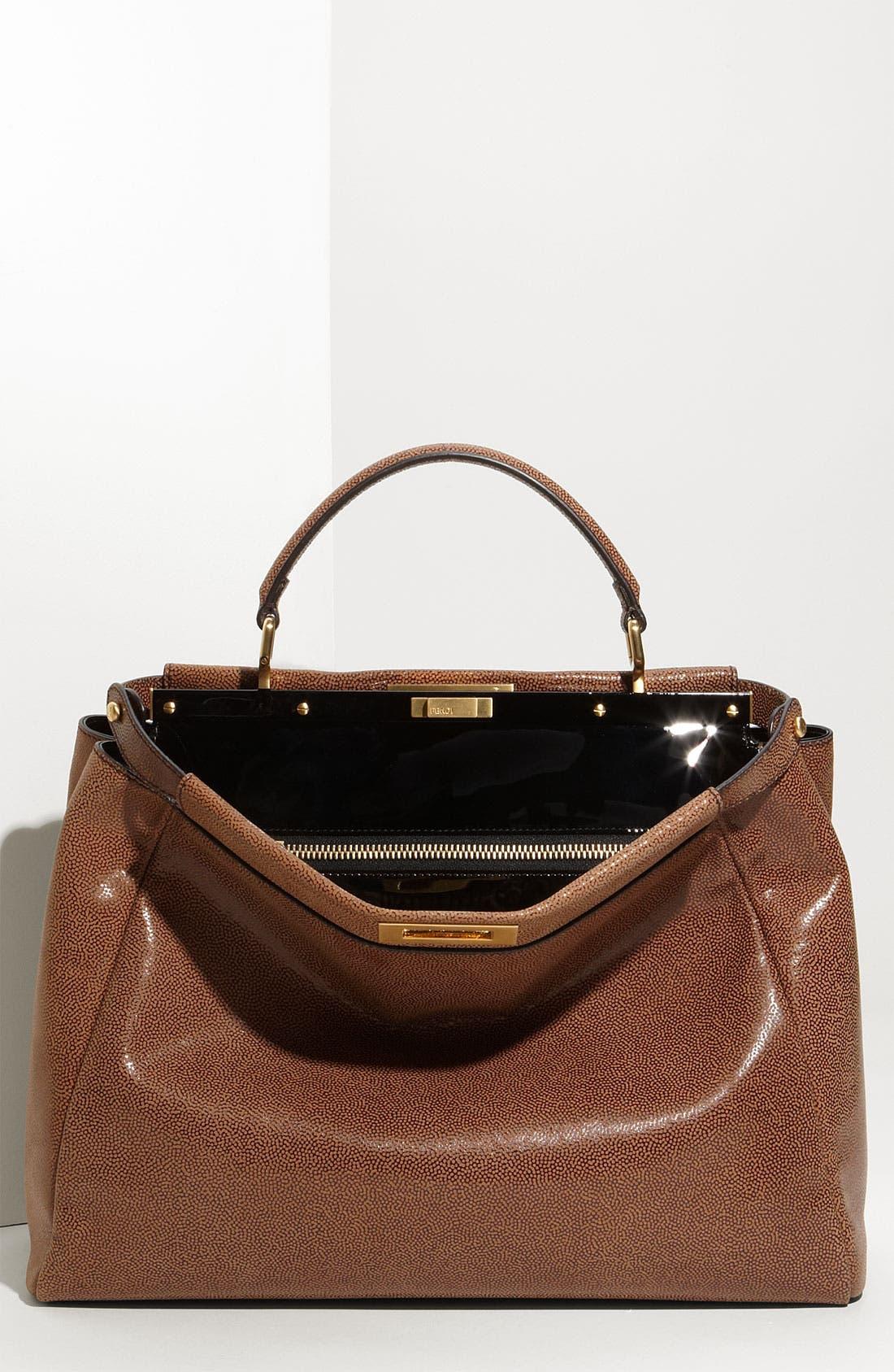 Main Image - Fendi 'Peekaboo - Large' Glazed Leather Satchel