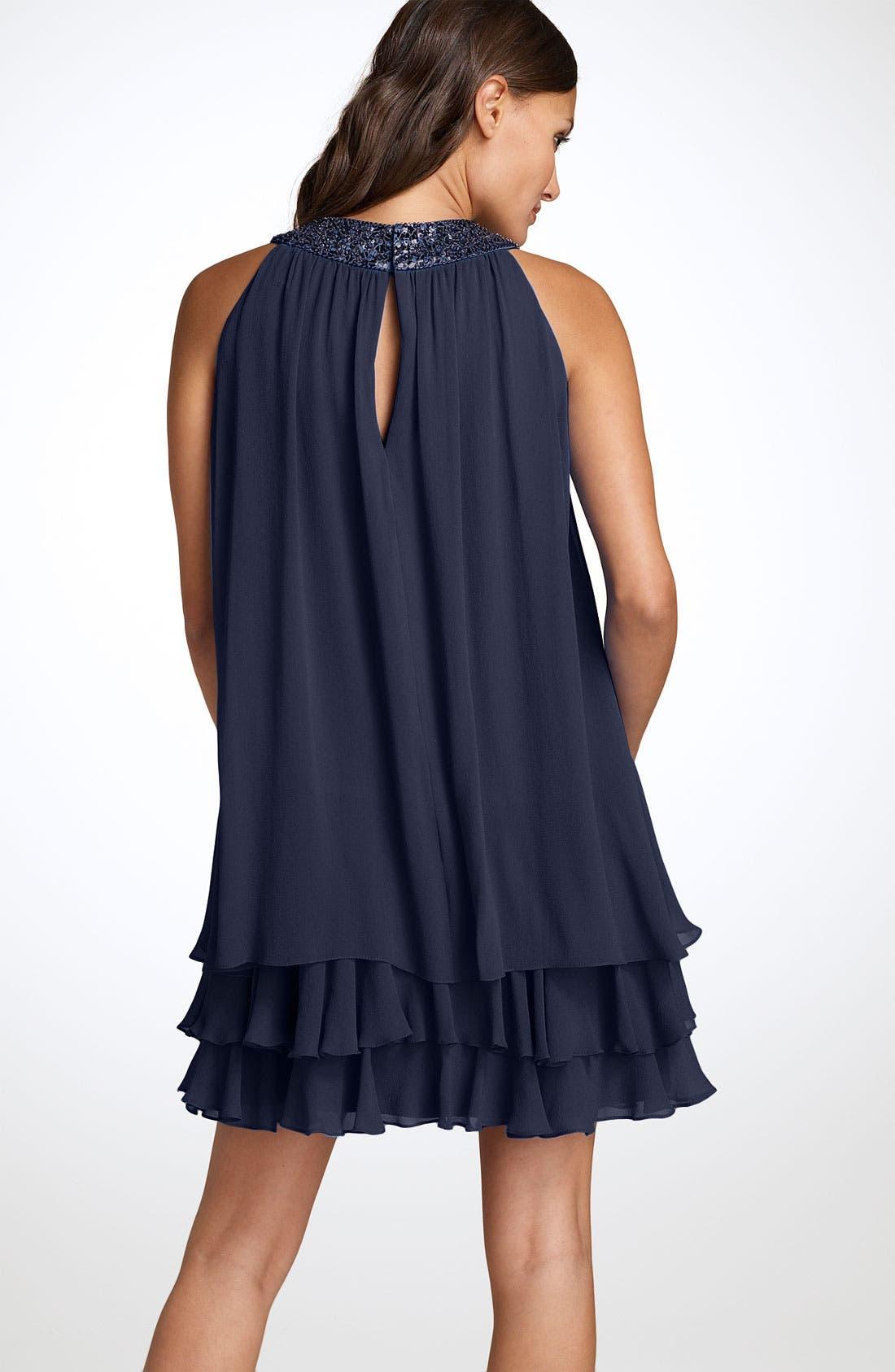 Jeweled Neck Chiffon Trapeze Dress,                             Alternate thumbnail 2, color,                             Twilight