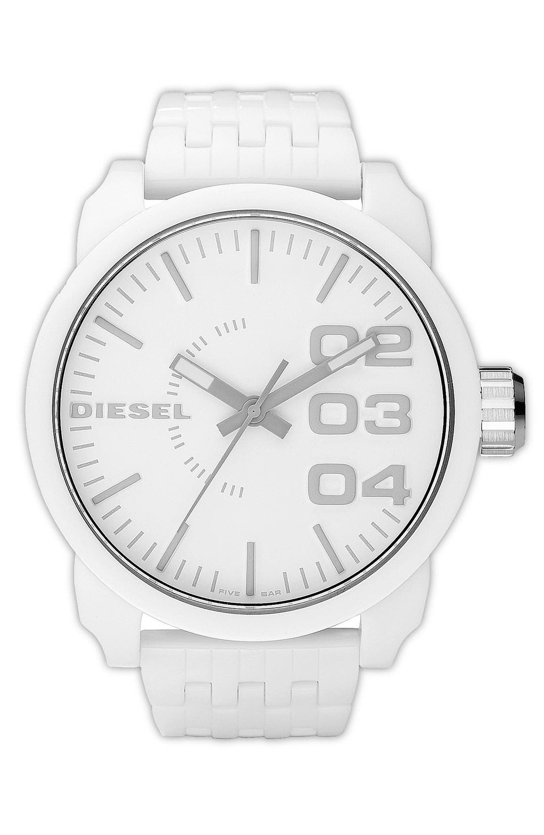 Alternate Image 1 Selected - DIESEL® 'Franchise' Oversized Round Bracelet Watch, 59mm x 67mm
