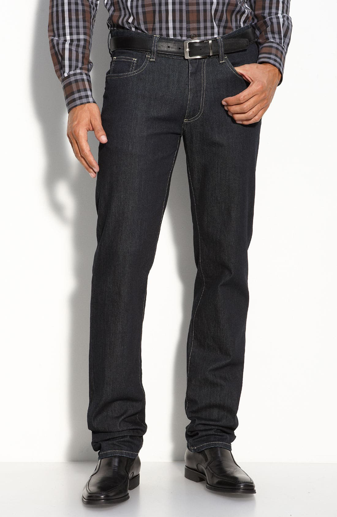 Alternate Image 1 Selected - Canali Straight Leg Jeans (Blue)