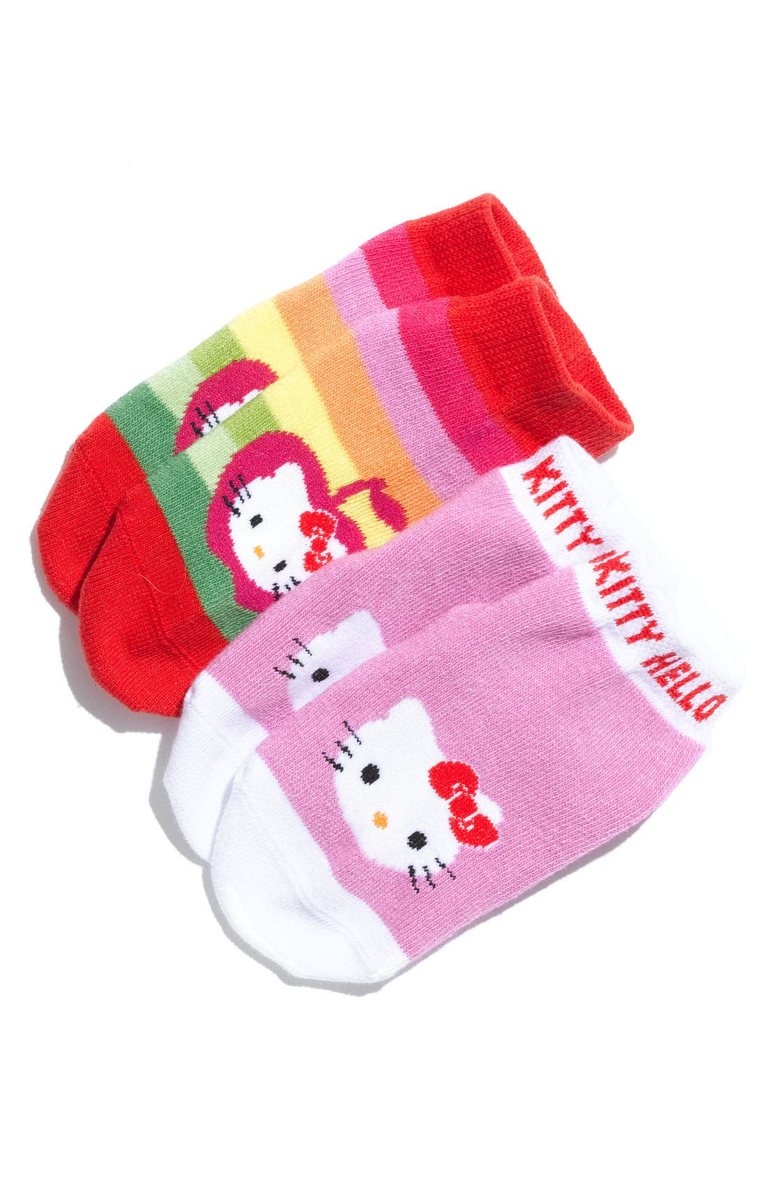 Main Image - BabyLegs® 'Hello Kitty® Apples and Bows' Socks (2-Pack) (Infant, Toddler & Little Girls)