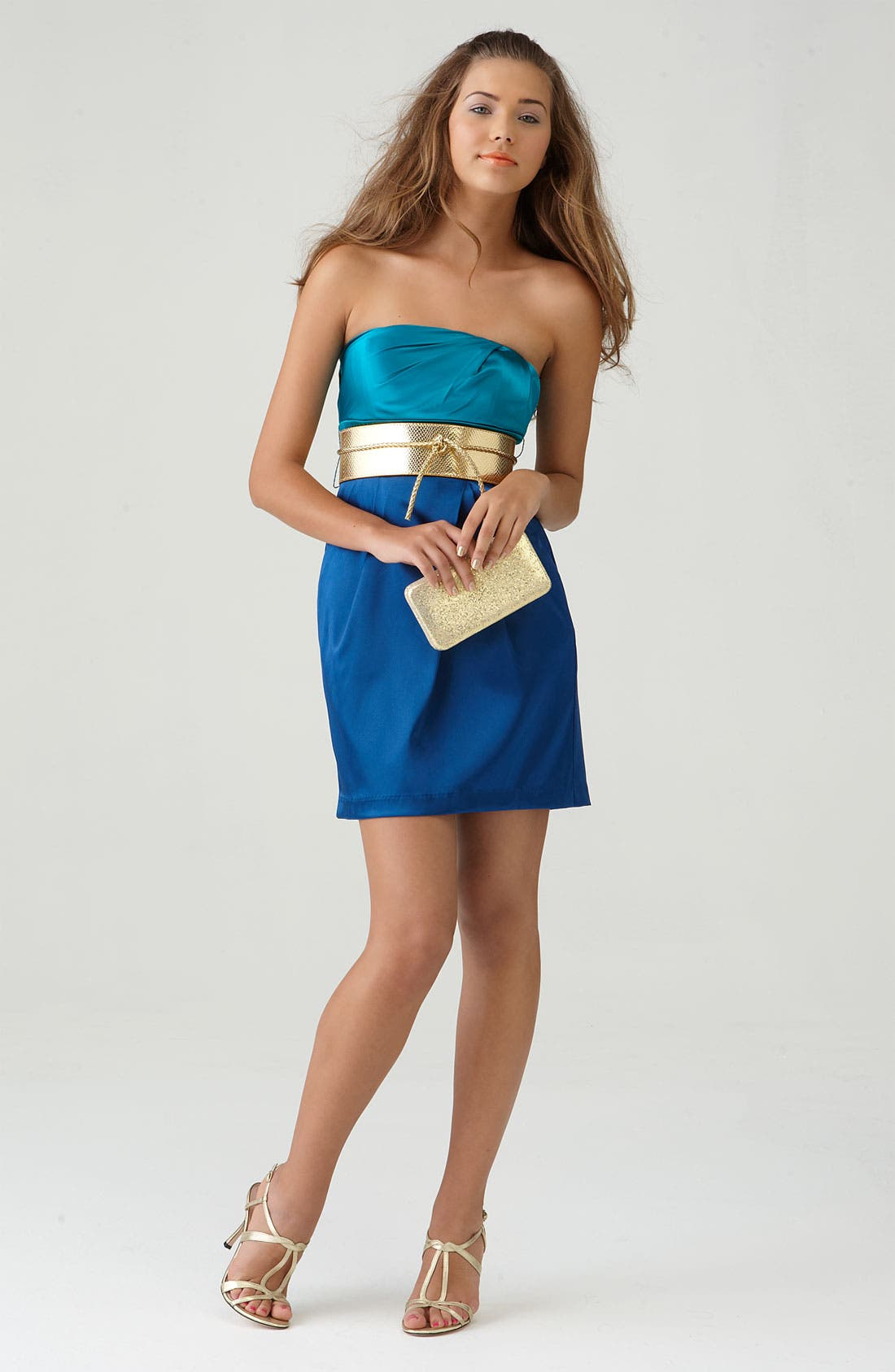 Alternate Image 3  - Speechless Colorblock Strapless Dress (Juniors)