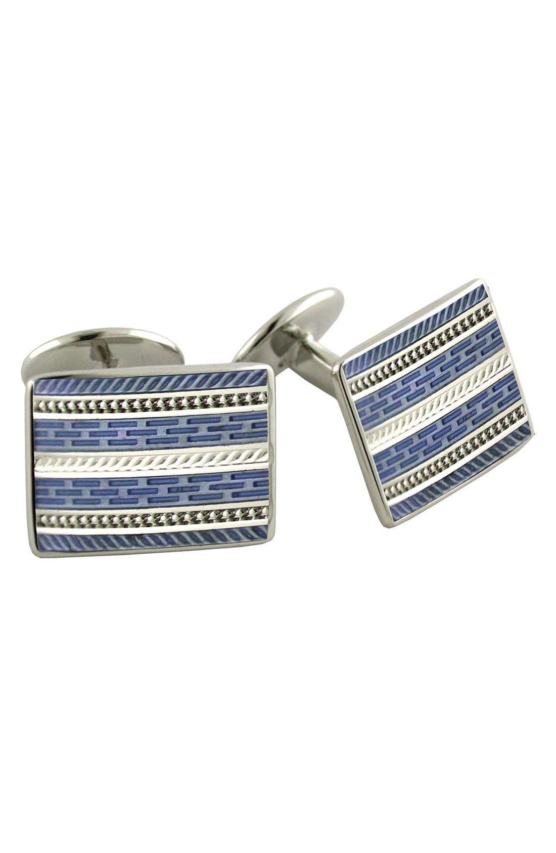 Main Image - David Donahue 'Blue' Rectangular Sterling Silver Cuff Links