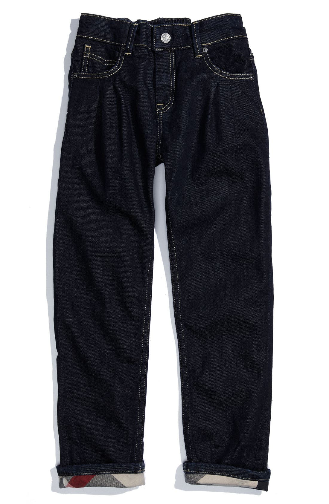 Alternate Image 2  - Burberry Cuff Jeans (Little Girls)