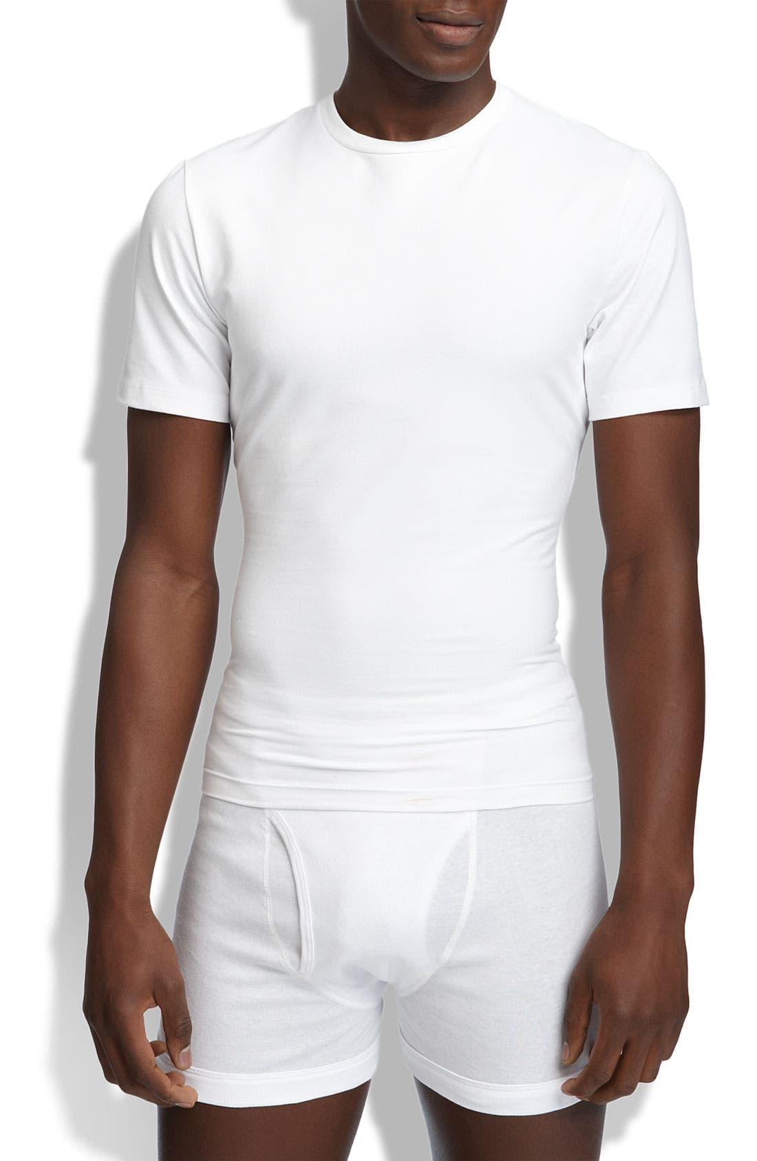 Crewneck Cotton Compression T-Shirt,                         Main,                         color, White