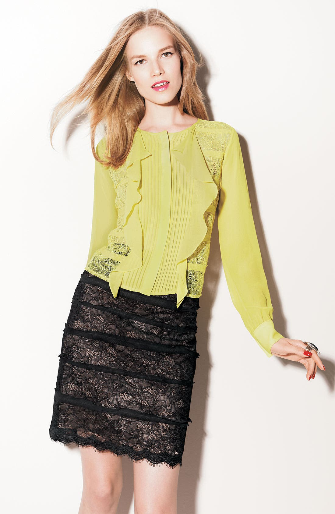 Alternate Image 2  - BCBGMAXAZRIA 'Jocelyn' Lace Pencil Skirt
