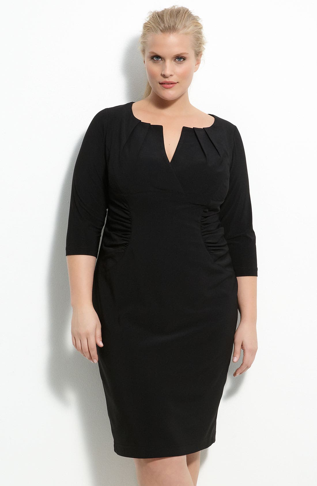 Main Image - Adrianna Papell Ruched Matte Jersey Sheath Dress (Plus)