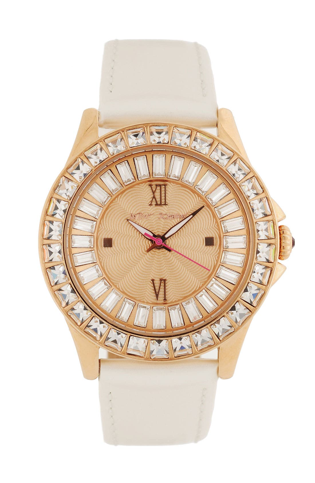 Main Image - Betsey Johnson 'Bling Bling Time' Leather Strap Watch, 40mm