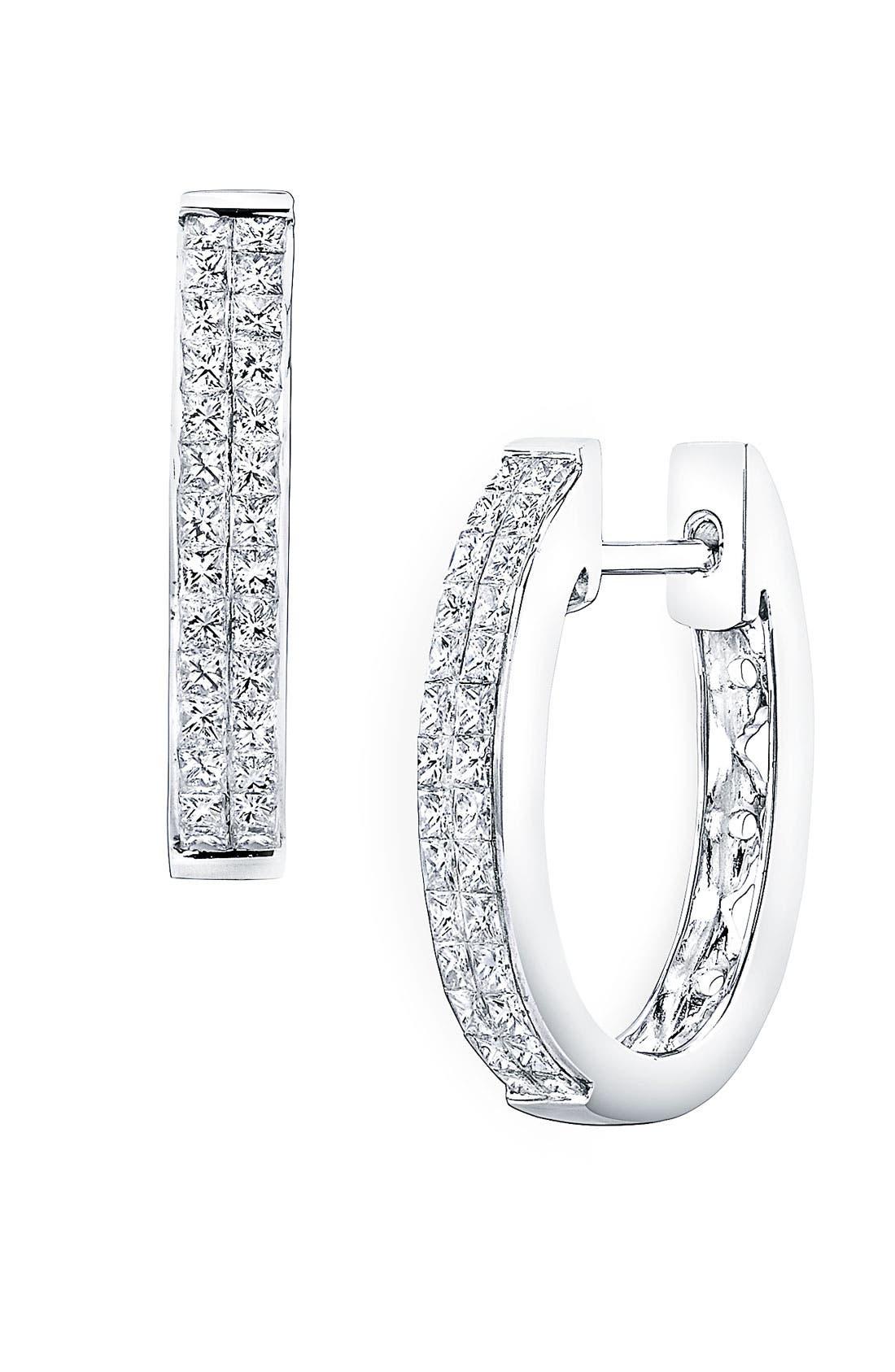 Alternate Image 1 Selected - Bony Levy 'Classic' Diamond Hoop Earrings (Nordstrom Exclusive)