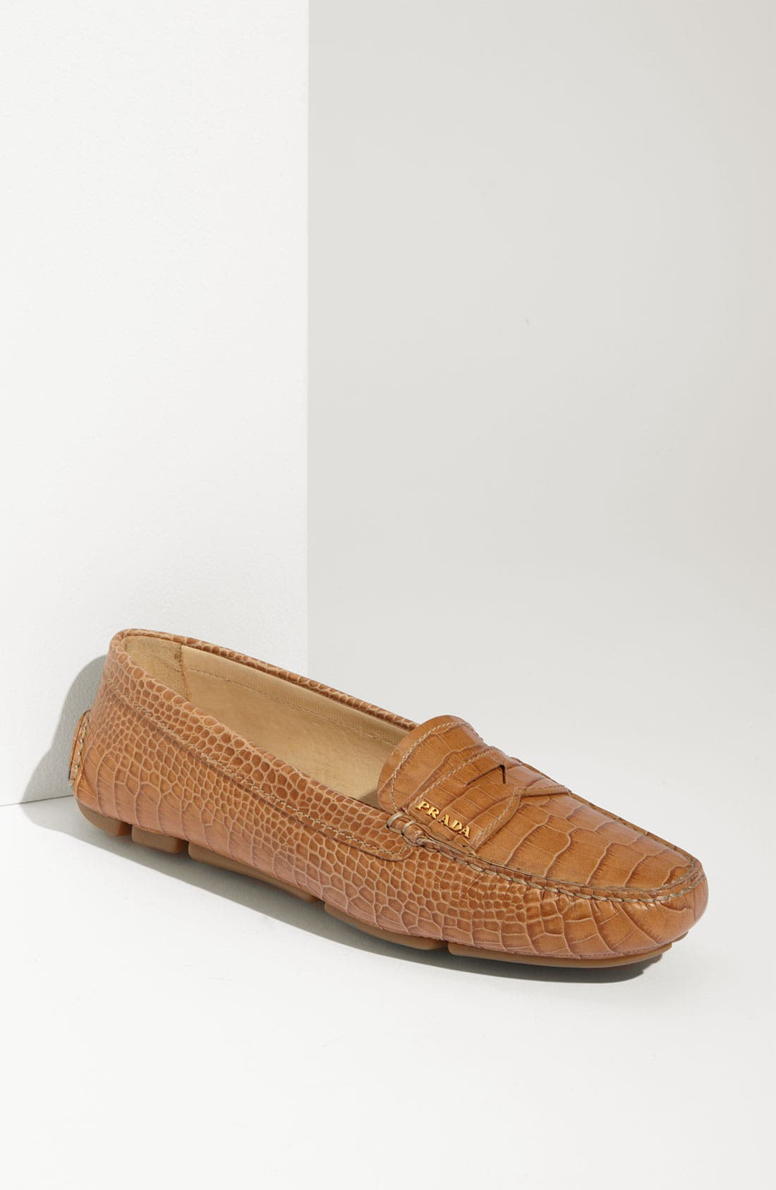 Main Image - Prada Snake Stamped Leather Driving Moccasin