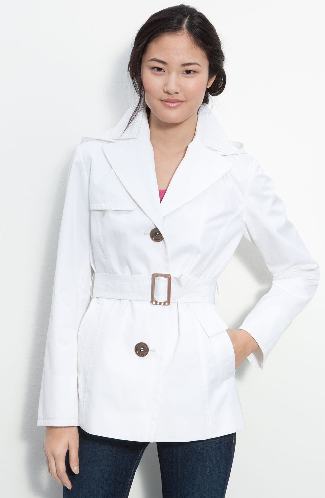 Main Image - Ellen Tracy Single Breasted Trench Coat (Nordstrom Exclusive)