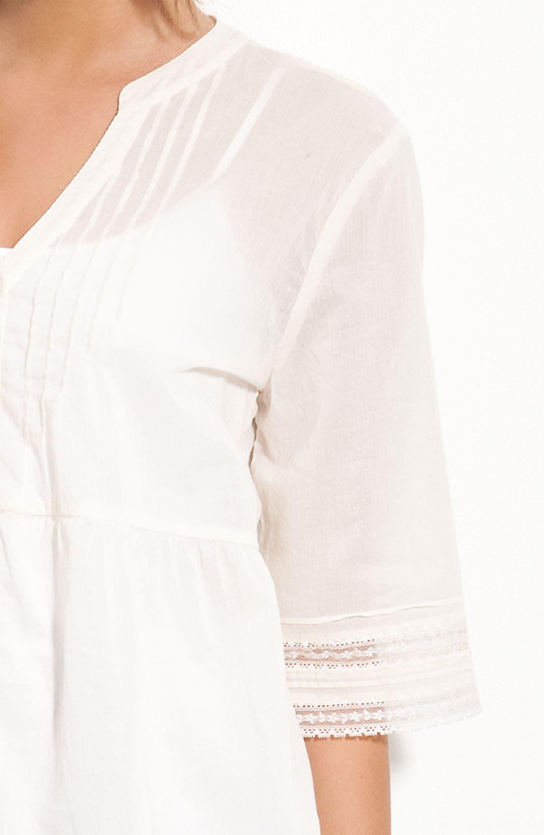 Alternate Image 2  - Frenchi® Pintuck & Lace Shirt (Juniors)